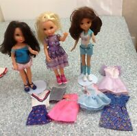 """3 EVER SO CUTE SPECIAL """" MGA"""" DOLLS WITH CLOTHES...THE THIRD DOLL COULD BE BRATZ"""