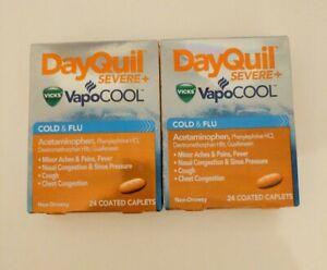 Lot of 2 VICKS DayQuil VapoCool Severe Cold & Flu 24 Caplets EXP 08/2021