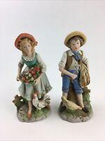 "HOMCO Home Interiors Farmer Boy & Girl Ceramic Figures Chicken Rooster 9"" 8881"