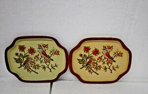 Vintage Birds Metal Tin Tray Set of 2 trays