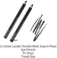 LOT OF 2 Estee Lauder Double Wear Stay In Place Eye Pencil # 01 ONYX (Black)