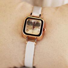 Ladies Rose Gold Quartz Square White Faced Slim Design White Band Wrist Watch.