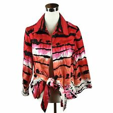 Mishca Size L Black and Red Open Blouse Top/ Cardigan w/ Tie Detailing