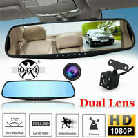 "4.3"" Car DVR HD 1080P Dual Lens Rearview Mirror Dash Cam Recorder G-Sensor UK"