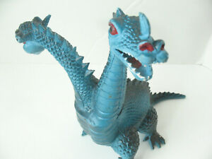 """Vintage 1983 Imperial Blue Two Headed Head Dragon Dagger Knight Monster Toy 7.5"""""""