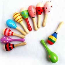 2pcs/lot Colorful Wooden Maraca Rattles Musical Toys Sand Hammer Baby Gifts 12cm