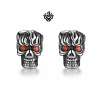 Silver studs red crystal stainless steel Gothic skull earrings fire overlord