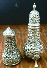 Vintage S. Kirk & Sons Repousse Sterling Silver Shakers (1 Footed)
