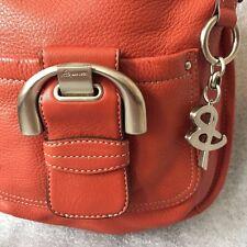 B Makowsky Terra Cotta Leather Crossbody Convertible Buttery Soft Keyring Charm