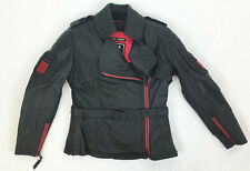 NEW ICON 1000 FEDERAL WOMAN'S LEATHER MOTORCYCLE JACKET BLACK RED M MD MEDIUM