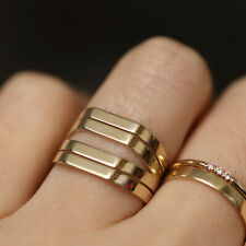 Wide Ring Band, 14K Solid Gold Thick Band, Midi Ring, Antique Vintage Style