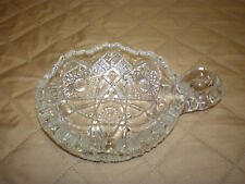 Vintage Heavy Lead Crystal Round Candy Nut Dish with Handle - Sunburst Pattern