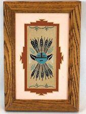 Small Navajo Handmade Sandpainting Native American Art Sand Painting Framed