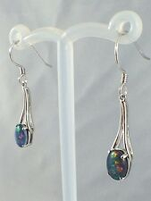 Genuine Australian Lightning Ridge Triplet Opal Drop Earrings / Blue Green