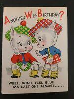 Vtg Birthday Greeting Card Anthropomorphic Kittens Scottish Kilts Rust Craft 50s