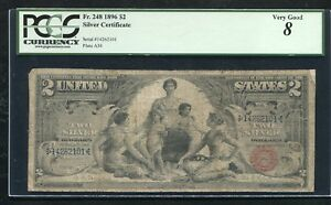 """FR. 248 1896 $2 TWO DOLLARS """"EDUCATIONAL"""" SILVER CERTIFICATE PCGS VERY GOOD-8"""