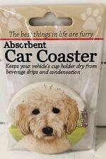 "Cute Golden Doodle Dog Absorbent Car Coaster Stoneware 2.5"" Diameter Pup"