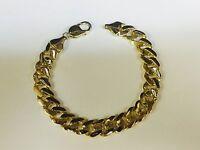 "14k solid Yellow Gold handmade Curb Link mens Bracelet 9"" 42 Grams 11MM"