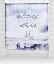 Sail Away Boat Ship Nautical Fabric Sea Ocean Shower Curtain Modern 180x180cm