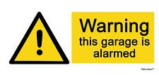 2 X Warning Garage Is Alarmed - Info Sign Self Adhesive Vinyl Waterproof Sticker