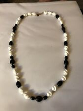 Miriam Haskell Necklace Signed 27 Inch Black And White Glass