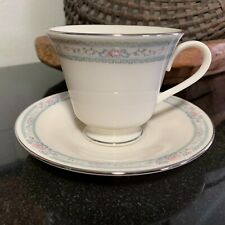"""Lenox Charleston 3 1/8"""" Footed Cup & Saucer Platinum Trim Excellent  9 Available"""
