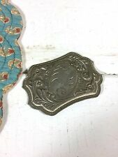 Vintage Silver Belt Buckle Cowboy Western Flowers Retro Old Etched Metal