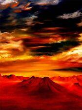 PITTURA ad olio montagna Tops dinamico CIELO ROSSO FOTO ART PRINT POSTER bmp1041a