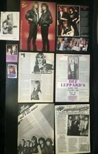 Def Leppard & Joe Elliott MAGAZINE CLIPPINGS 80's rock band music