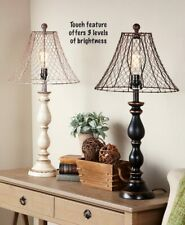 Rustic Western Vintage Country Chicken Wire Touch Light Lamps Black/Ivory Gift