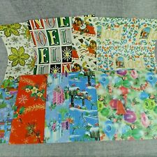 Vintage Christmas Flat Wrapping Paper Lot of 8 Designs + 1 Partial Piece 1960s