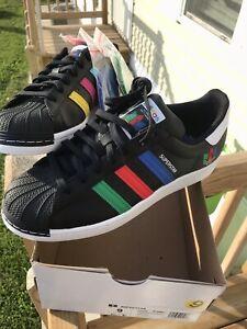 Adidas Originals Superstar FU9520 Black Green Blue Red Sneakers Men's Size 9 (x2