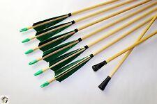 6PC Handmade Green Wood Arrows Safety Arrowheads Blunts Field Training Game