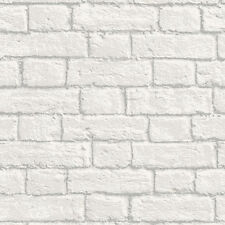 COLOROLL WHITE GLITTER BRICK WALL QUALITY FEATURE DESIGNER WALLPAPER M1038