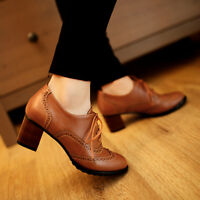 CHIC Casual Womens Brogue Pumps Block Mid Heel Oxfords Wing Tip Lace Up Shoes