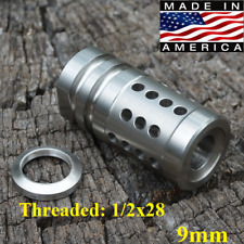 1/2x28 9mm FCX Precision 9mm Stainless Steel Muzzle Brake+Crush Washer Silver
