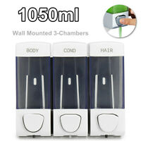 Triple Shower Lotion Soap Dispenser Wall Mounting Bathroom 3 Compartment