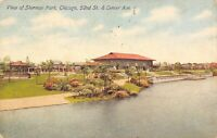 Chicago Illinois~Pavilion & Bandstand by Sherman Park Lagoon~Homes Beyond~1914