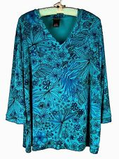 CITIKNITS Travel Knit Top 1X 3/4 Sleeve V-neck Floral Slinky Career Plus Size