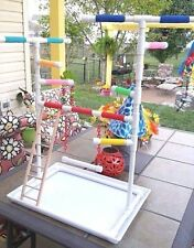 Custom PVC Parrot Perch Fun GymStand  with tray and swing