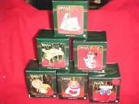 VINTAGE CHRISTMAS ORNAMENTS, LOT OF 6 FROM CARLTON CARDS new in boxes