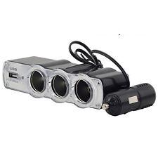 In Car 12v Triple Way Splitter Cigar Lighter Socket USB Connection Charger Plug