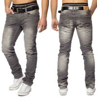 Hommes détruits Jeans Slim Fit Vintage Style froisse gris