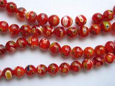 Millefiori glass round beads 8mm Red