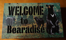 WELCOME TO BEARADISE Black Bear LED LIGHTED LOG CABIN SIGN Lodge Home Decor NEW
