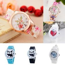 Women Cartoon Kitty Silicone Watch Girl Floral Casual Jelly Analog Wrist Watches