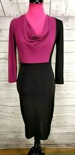 Narciso Rodriguez Dress Size XS Womens Black Mulberry Colorblock Cowl Neck
