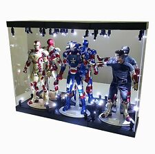 "MB-3 Acrylic Display Case LED Light Box for three 12"" 1/6 Scale IRON MAN Figure"