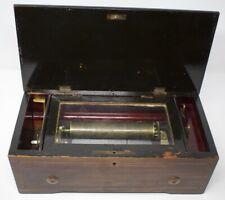 Antique Victorian Swiss Cylinder Music Box - Inlaid Wood