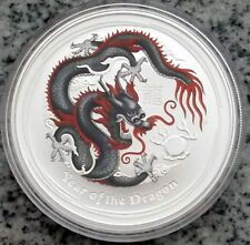 Australia $ 1 Dollar 2012 Black Coloured Colourised Dragon 1 oz .999 Silver
